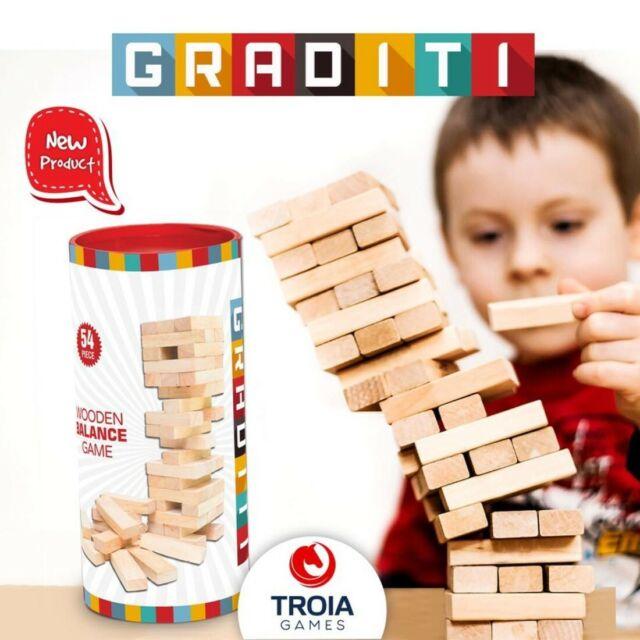 Wooden Stacking Tumbling Tower Blocks Traditional Jenga Game GRADITI 54 Pcs