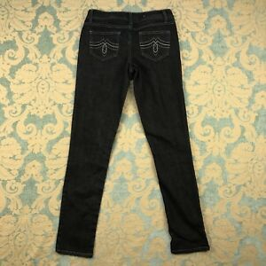 SO-Womens-Sz-7-Average-Skinny-Jeans-Blue-Stonewashed-Dark-Denim-Pants-30-034-Inseam