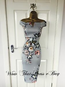 Blue-Floral-Bardot-Occasion-Bodycon-Evening-Party-Wiggle-Midi-Pencil-Dress