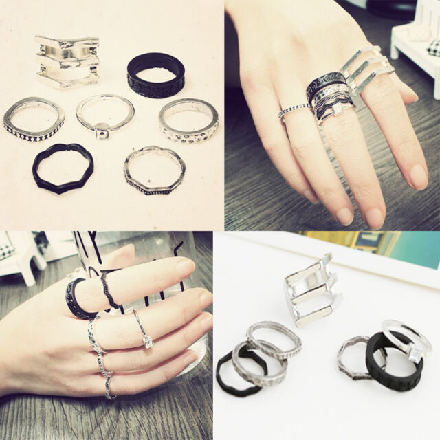 Punk Black Silver Tone Thin Band Above Knuckle Mid Finger Ring Nail Rings Set