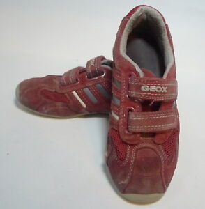Details about Geox Boys Red Leather Sneakers Shoes Size 33 US 2