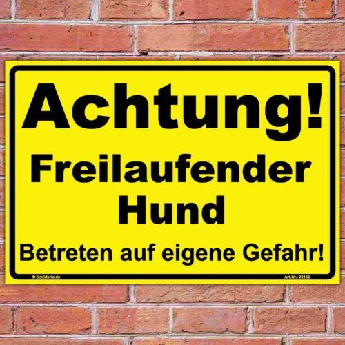"""Hinweisschild 300x200 mm  /""""Achtung Freilaufender Hund/"""",gelb stabile Aluminiumv"""