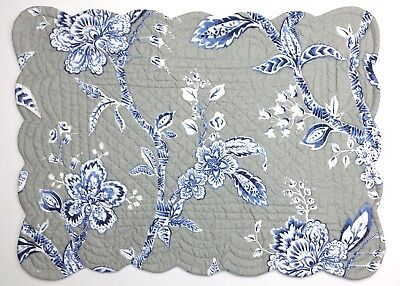 Set Of 2 C F Annabelle Gray White Blue Floral Quilted Cotton Placemats Ebay