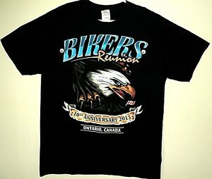 BIKERS-REUNION-New-Liskeard-Canada-NEW-2-Two-Sided-Logo-Image-T-Shirt-Size-XL