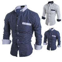 Luxury Mens Stylish Slim Fit Shirts Long Sleeve Formal Dress Casual T-shirt Tops
