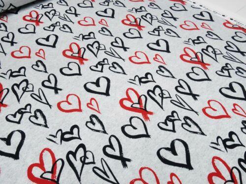 Stoff Baumwoll Sweatshirtstoff French Terry Herzen grau rot schwarz Kleiderstoff