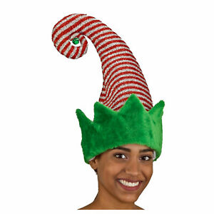 Christmas-Elf-Red-Green-Striped-Sparkly-Hat-Bell-Santas-Helper-Costume-Accessory