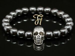 Haematit-Hematit-glanz-8mm-Armband-Perlenarmband-silberfarbener-Totenkopf-Skull