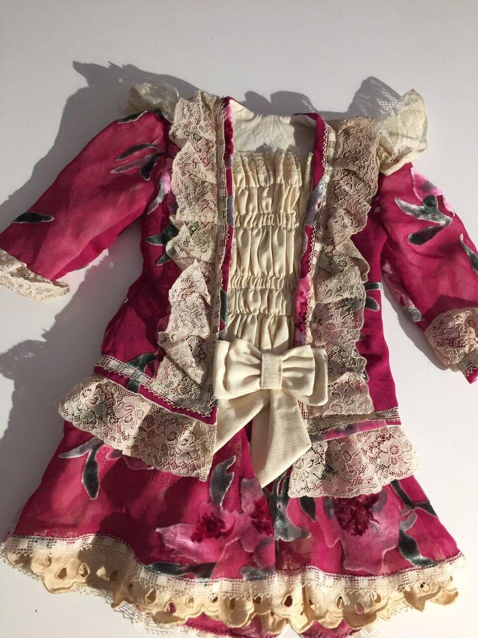 Antiguos francés de seda, Vestido Para Muñeca 9-11 Jumeau Steiner Bru Encaje Antiguo