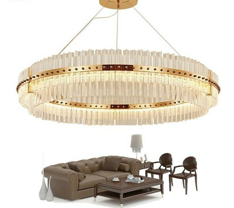 Chandeliers Luxury Modern Crystal Lamp Double Layer Hanging Ceiling Fixtures New