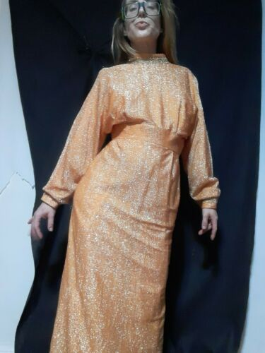 Rare 1970's Metallic Orange Designer Gown by Alice