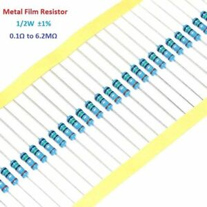 Metal Film Resistor 1//2W 0.5W 1/% Tolerance 1K Ohm to 6.2M Ohm