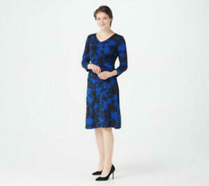 Susan-Graver-VNeck-Printed-Liquid-Knit-3-4-Sleeve-Dress-Black-Blue-1X-A374085