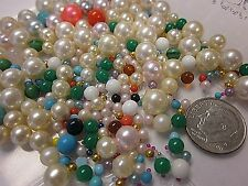 HUGE LOT NO-HOLE & 1 HOLE BALLS & PEARLS MIXED VTG JEWELRY REPAIR MAKING CRAFTS