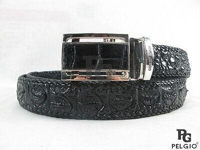 "PELGIO Genuine Crocodile Alligator Skin Leather Handmade Belt 46"" Long Black New"