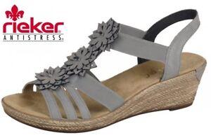 Rieker Damen Sandale Grau Keilabsatz Sandalette Blumen tkdJT