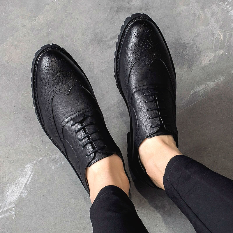 Mens Carved Brogue Vogue Pointy Toe Lace Up Wing Tip 2019 Formal Dress shoes S5