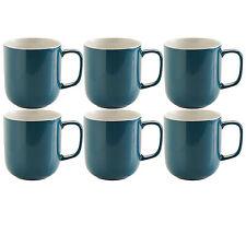 Set Of 6 Teal Blue Stoneware 14oz Tea Coffee Latte Hot Chocolate Drinks Mugs Cup