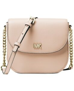 e591fddf3d65 Michael Kors Half Dome Pebbled Soft Pink Leather Small Crossbody Bag ...