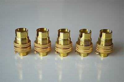 PAIR OF BRASS SMALL BAYONET B15 FITTING BULB HOLDER LAMP C//W SHADE RING 10MM L5