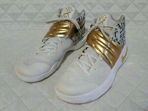e80a73355181 Nike Men Kyrie 2 ID White-Black-Gold 843253 998 Sz 14