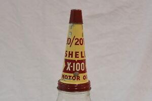 Vintage-Shell-1-Quart-A-A-Motor-Oil-Bottle-with-20-20W-X-100-Tin-Top-Pourer-Lid