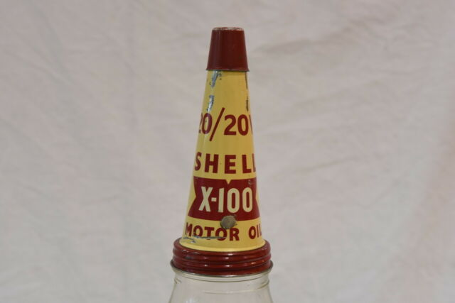 Vintage Shell 1 Quart A A Motor Oil Bottle with 20/20W X-100 Tin Top Pourer Lid