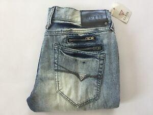 GUESS Factory Men/'s Harlem Ultra-Slim Zip Jeans in Black Coated Wash