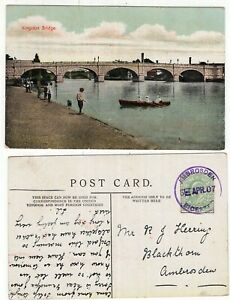 Great-Britain-cracker-AMBROSDEN-1907-violet-cancel-on-KEV11-postcard