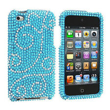 For Apple iPod Touch 4 Crystal Diamond BLING Hard Case Snap Phone Cover Flourish