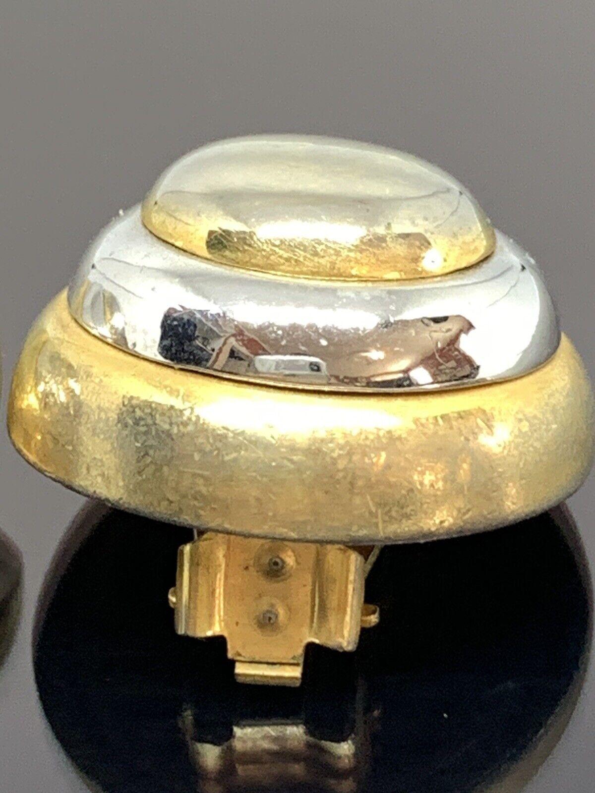 Vintage Lanvin Paris Couture Clip Earrings 2 Tone… - image 3