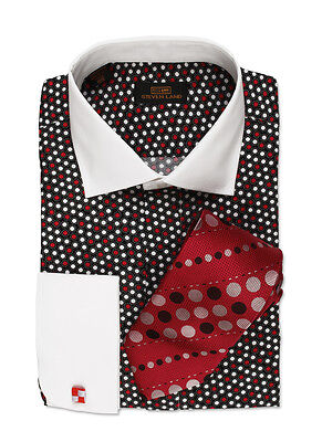 Steven Land Men/'s Black//White Polka Dot 100/% Cotton Dress Shirt Style DW1600