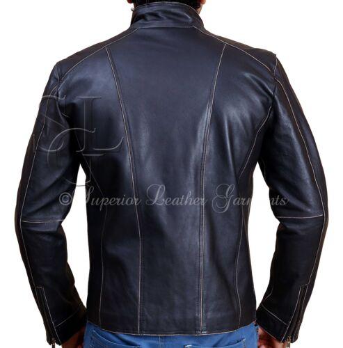 Men/'s BLACK Rivet Leather Faded-Seam Jacket Genuine Leather Jacket