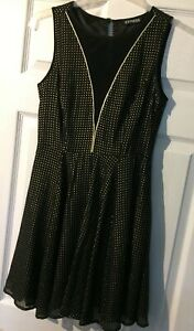 Express-Black-Skater-Dress-with-gold-studs-Size-S-8-Worn-once
