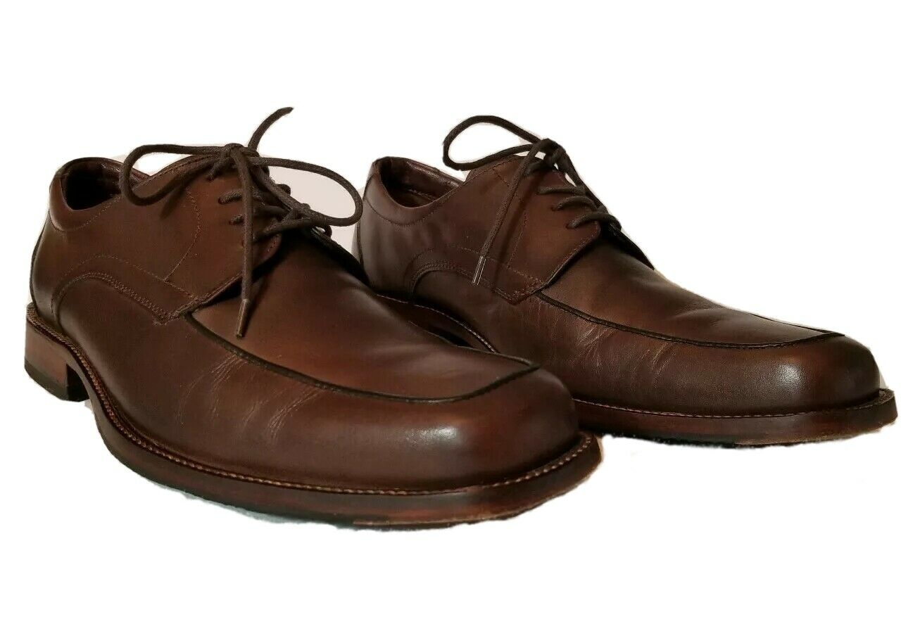 Johnston & Murphy Mens Brown Leather Oxford Size 10M Lace Up Apron Toe Shoes