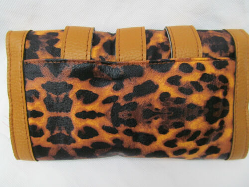 ANIMAL LEOPARD PRINT FAUX LEATHER LADIES PURSE CLUTCH BAG WITH BUCKLES UK SELLER