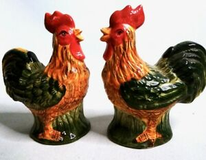 ROOSTER-SALT-AND-PEPPER-4-034-CERAMIC-SHAKERS-SET-Lot-of-2