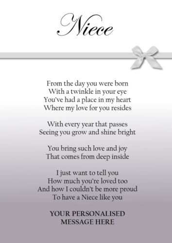 Personalised Birthday Gift for Niece Keepsake Poem Bow PRINT ONLY Niece Gift