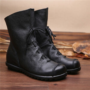 2279b35e35f Details about Vintage Genuine Leather Boots Flat Booties Soft leather  Womens Shoes Ankle Boots