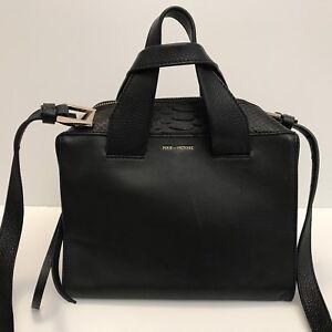 Details About Pour La Victoire Black Leather Satchel Shoulder Bag Rare Style Retail 469