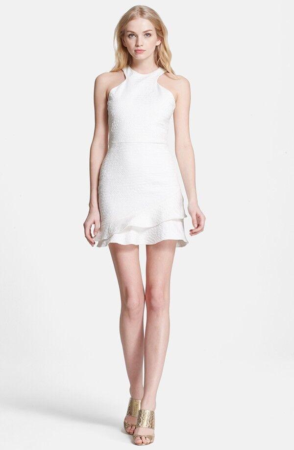 NEW PARKER 'Barcelona' Fit & Flare Asymmetric DRESS SIZE L (8-10 )  300 WHITE