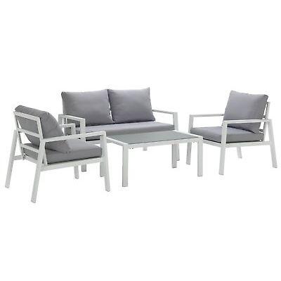 Argos Home Aluminium 4 Seater Sofa Set - Light Grey