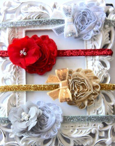 Baby Girl Headband Glitter Sequin Flower Rhinestone Pearl Christmas Dress Bow