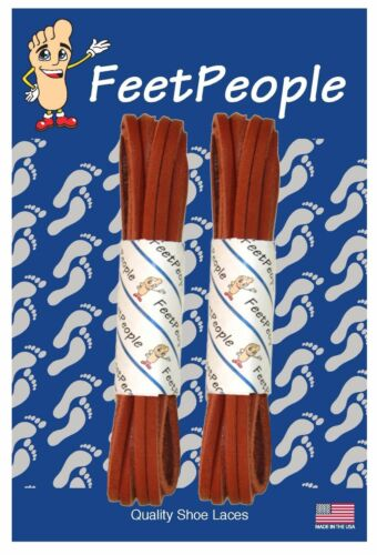 FeetPeople Genuine Leather Shoe Laces ADOBE 27-90 Inches 2 Pair Pack