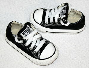Details about Converse All Star Black Canvas Toddler Infant Lace up Sneakers Size 4 Shoes EUC