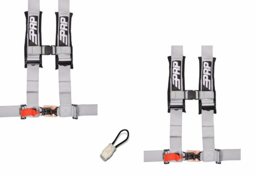 "PRP 4 Point Harness 3/"" Seat Belt PAIR SILVER Bypass YAMAHA YXZ1000R YXZ 1000R 17"