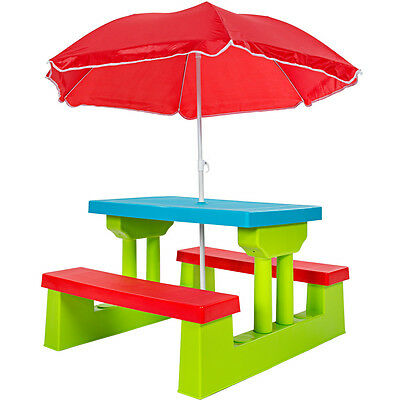 Kindersitzgruppe Kinder Sitzgarnitur Kindertisch Bank Kindermöbel + Sonnenschirm