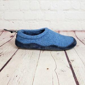 LL Bean Blue Fleece Suede Kid Slippers