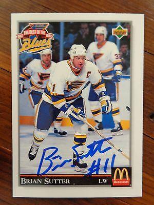 "Louis Blues Brian Sutter Signed 1992 Upper Deck ""mcdonald's"" Card F St Sports Mem, Cards & Fan Shop"