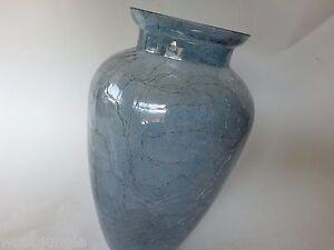 Vintage-AMERICAN-HAND-BLOWN-GLASS-VASE-CRACKLE-MID-CENTURY-MODERN-AMETHYST